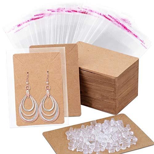 Ohrringkarten, Anezus 100 Stück Ohrring-Display-Karten Ohrring-Halter Karten mit 200 Ohrring-Verschlüssen und 100 selbstverschließenden Beuteln für Ohrringe, Halsketten, Schmuck, Farbe: Kraftpapier, 8,9 x 6,1 cm