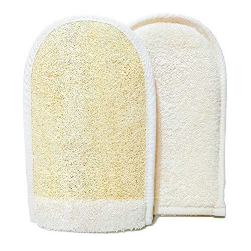 EuropeanM6 Luffaschwämme Peeling-Handschuh, hochwertig, doppelseitig, groß, aus natürlichem Bio-Luffa und weicher Baumwolle, toller Handschuh, tiefer Körperreinigungshandschuh