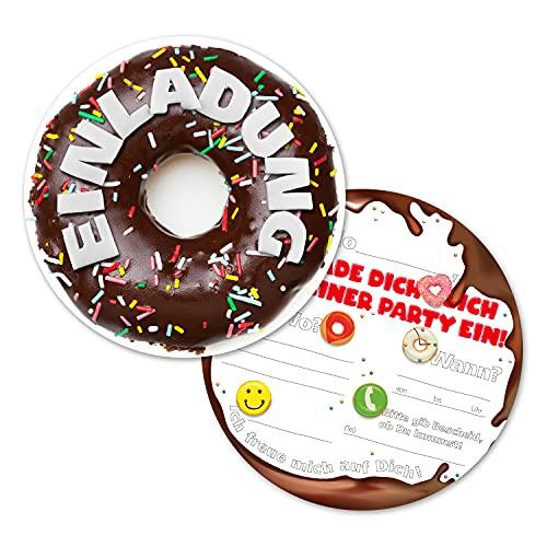 12 Donut Einladungskarten | lustige Einladung zum Kinder-Geburtstag für Jungen, Mädchen und Erwachsene | passend zu jeder Party (rund)