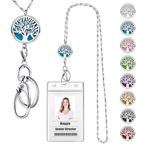 USANGERS Badge Reel Lanyard Necklace with ID Holder Strong Beaded Chain Essential Oils Diffuser Lanyard Stainless Steel Aromatherapy Non Breakaway Necklace Pendant for Her Women Nurse
