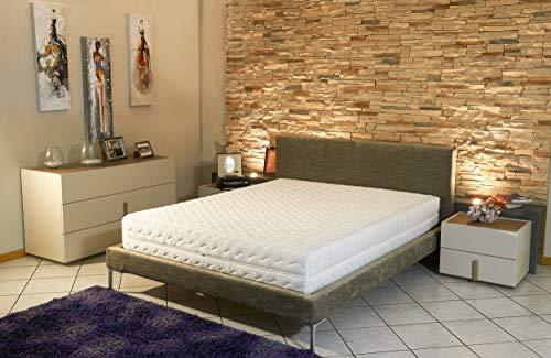 King of Dreams - Colchón + somier desmontado + Patas + Protector de colchón de Espuma polilátex indeformable – Funda extraíble Lavable – Altura 19 cm – Apoyo Muy Firme, Tela, Blanco, 120 x 190 cm