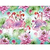 Fototapete Flamingo Vogel 352 x 250 cm Vlies Tapeten Wandtapete XXL Moderne Wanddeko Wohnzimmer Schlafzimmer Büro Flur Rosa Grün Blau 9411011a