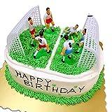 Toyvian 8 Stücke Fußball Team Kuchen Topper Cupcake Picks Deko Kuchendeko für Kinder Junge Geburtstag Party (6 Fußball Spieler + 2 Fußballtor