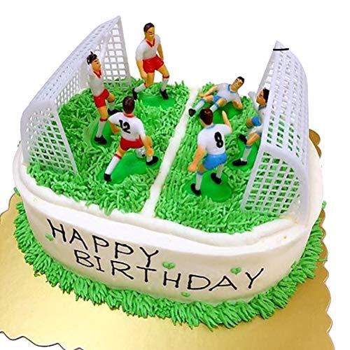 STOBOK Kuchen Topper Kunststoff Fußball Spieler Figur mit Tor Kuchenaufsätze Kuchen Deko für Fußball Thema Geburtstag Kuchen 8 Stück