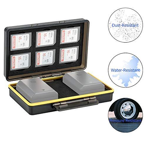 JJC Speicherkarten Aufbewahrung für 6 SD Karte und 2 Slots für Canon LP-E6 LP-E8 LP-E12 LP-E17 NB-13L Sony NP-FZ100 NP-FW50 NP-BX1 Fujifilm NP-W126 NP-W126S NP-95 Nikon EN-EL15 EN-EL14 Akku Tasche