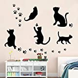 HNXDP 5 Big Cat set    etiqueta de la pared extraíble 5pc Black Cat pegatinas de decoración del hogar DIY Home Decals vinilo etiqueta de la pared Y05 5PCS