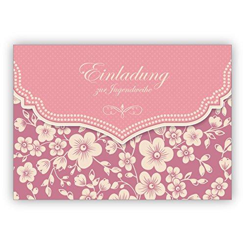Prachtige vintage uitnodigingskaart met retro kersenbloesempatroon in roze voor meisjes: uitnodiging voor het feestje • individuele groetkaart met envelop, hoogwaardige kwaliteit 1 Grußkarte