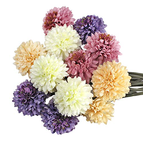 SnailGarden 12 stk Künstliche Hortensien Blumen, 4 Farben Hortensie Seidenblume mit Jute Schnur & Grußkarte,Silk Kunstblumen Hortensie für Hochzeitsstrauß Home Garden Party Office Arrangements