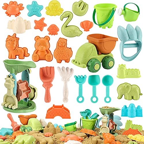 Beach Sand Toys for Kids - 28 PCS Sandbox Toys with Truck  Water Wheel  Castle Bucket  Sand Shovel Tool Kits  Animal Castle Molds in Mesh Bags  Snow Toys Outdoor Summer Beach Toys for Kids 3-10
