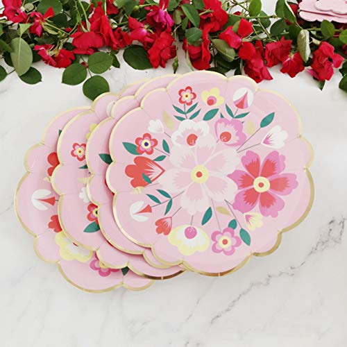 Gind Beautiful Flower Pattern Paper Plates, Tableware, 7.5in for Outdoor Barbecues Birthday Parties