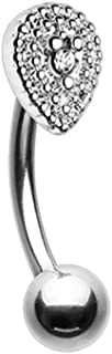 16G Aria Sparkle Teardrop Curved Barbell Eyebrow Ring (Sold Individually)