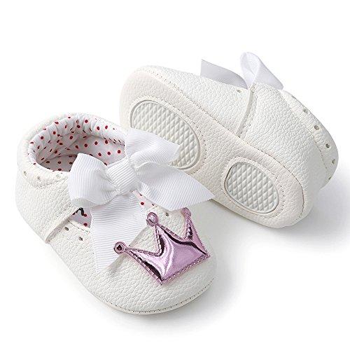 Nyuiuo Recién Nacido Bebé Niña Corona Princesa Zapatos Suela Suave Antideslizante Zapatillas Zapatos De Suela Blanda para Niña Pequeña Princesa Corona De Bebé Zapatos Deportivos Zapatos Casuales