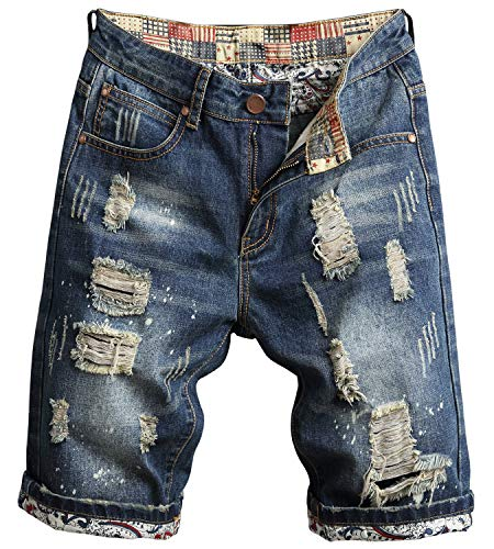 Men's Fashion Ripped Jeans Shorts Distressed Straight Fit Denim Shorts with Holes, 779, US 42 = Tag 44