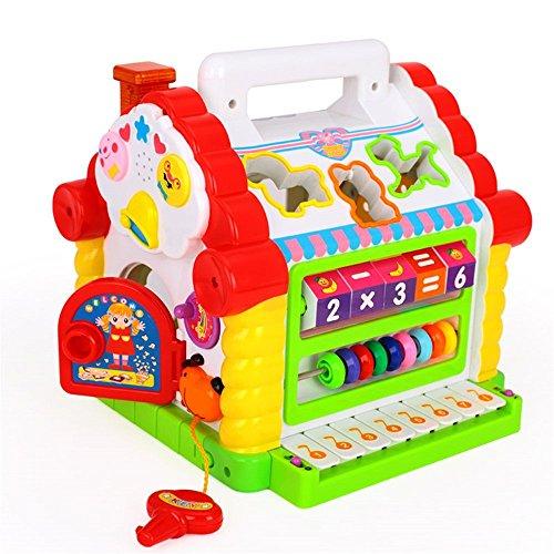 Juego para bebés de mas de 18 meses. Juego multifuncional de casa para desarollar inteligencia y divertirse con música / luz / bloque cúbico para niños y niñas