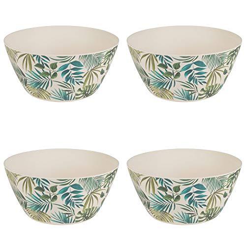 CAMBRIDGE CM06077 Polynesia Reusable Bowls, 14 cm, Set of 4, Dishwasher Safe, BPA , Bamboo Fiber Mix