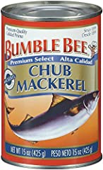 BUMBLE BEE CANNED MACKEREL: BUMBLE BEE Chub Mackerel is a fish similar in size to a large sardine with a very unique flavor profile QUALITY IN EVERY CAN: This case of 12, 15-ounce cans of premium BUMBLE BEE Chub Mackerel features 3-4 mackerel packed ...