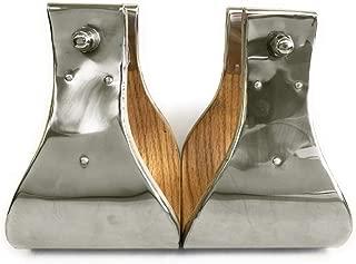 AJ Tack Wholesale Monel Wooden Western Bell Stirrups Extra Wide Steel Metal Hand Bound 3