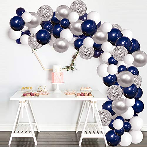 Silver Blue Balloons Garland Kit, 120 pcs Navy Blue and Silver Confetti White Balloons Arch with 16ft Tape Strip & Dot Glue for Party Wedding Birthday DIY Decoration