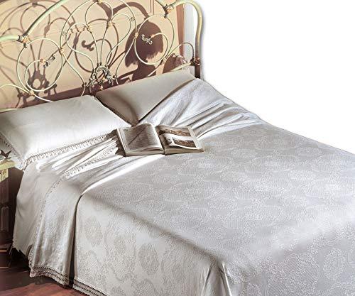 Centesimo Web Shop COPRILETTO Broccato Piquet in 6 Colori e 3 Misure Jacquard Prodotto in Italia Coperta Estiva - Matrimoniale Bianco