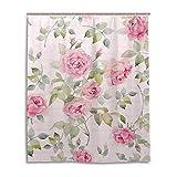 MyDaily Duschvorhang mit Wasserfarbe, Rosen & Blumen, 152,4 x 182,9 cm, schimmelresistent & wasserdicht, Polyester, Dekoration für das Badezimmer