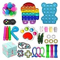 30ピースのフィジットのおもちゃパックシミュレット - ディンプルプッシュポップバブルキューブストレスライブボールフィジェットキットを押しながら子供大人 (Color : Pack J)