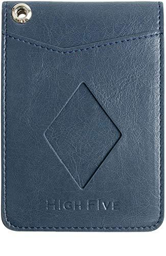 HIGH FIVE パスケース 二つ折り 定期入れ カードポケット 4枚 3面 icカード 2枚 おしゃれ メンズ レディース 牛革風 PUレザー ネイビー