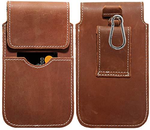 MOELECTRONIX ECHT Leder Hüft Gürtel Tasche passend für Samsung Galaxy S20 FE (Fan Edition) 5G | Gürteltasche mit Karabinerhaken & Schlaufe | Seiten Quer Schutz Hülle Lederhülle | XL Braun