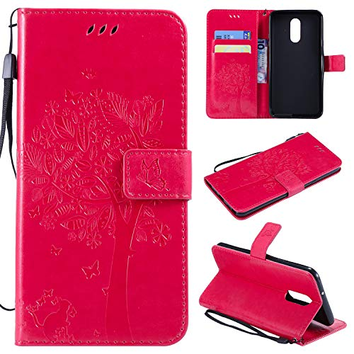 NOMO LG Stylo 4 Case,LG Q Stylus Wallet Case,LG Stylo 4 Flip Case PU Leather Emboss Tree Cat Flowers Folio Magnetic Kickstand Cover with Card Slots for LG Stylo 4/LG Q Stylus 2018 Release Rose