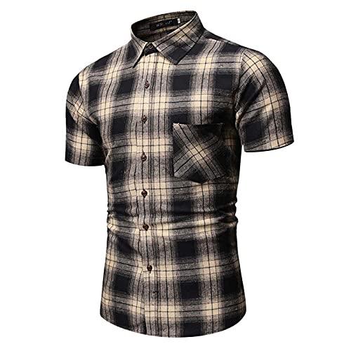 SSBZYES Herrenhemd Sommer Herren Kurzarmhemd Herren Freizeithemd Kariertes Hemd Freizeitgroßes Kurzarmhemd Ou Größe