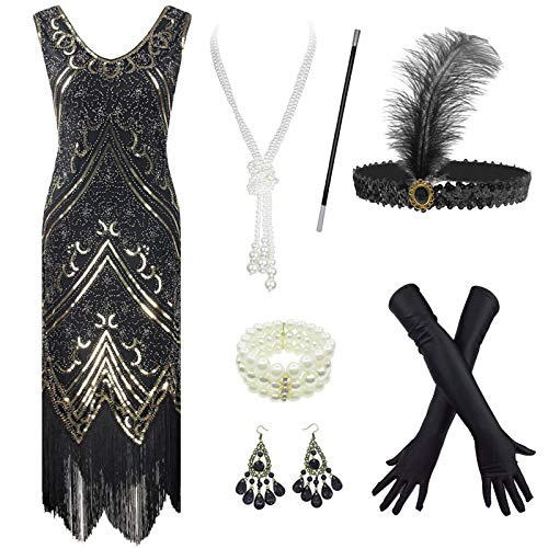 20's Vintage Peacock Sequin Fringed Party Flapper Dress Costume Set (Large, Style04-Black&Gold)