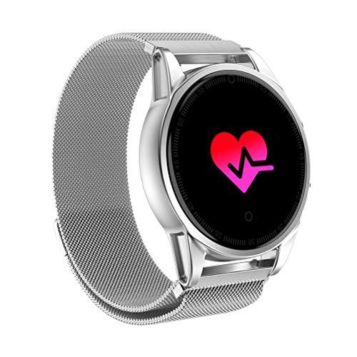 PartyKindom Reloj inteligente con cámara GPS Soporte Monitor de ritmo cardíaco Cronómetro Velocímetro Actividad Smartwatch para Android IOS Phone (Plata) para regalo