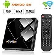 Android TV Box 10.0, NinkBox Smart TV Box 【4GB +32GB】 TV Box Android de RK3318 Quad-Core 64bit Cortex-A53, con Bluetooth 4.0, WiFi 2.4G/5G, 3D Ultra HD 4K, USB 3.0, BT 4.0