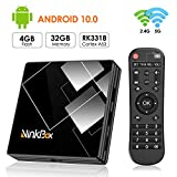 Android 10.0 TV Box 4G + 32G, NinkBox TV Box N1 Plus RK3318 Quad-Core 64bit Cortex-A53, unterstützt Bluetooth 4.0/WLAN 2.4G/5.0G /4K HD/ USB 3.0 Smart tv Box Android Set-top-Box