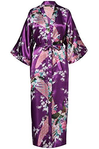 BABEYOND Damen Morgenmantel Maxi Lang Seide Satin Kimono Kleid Pfau Muster Kimono Bademantel Damen Lange Robe Schlafmantel Girl Pajama Party...