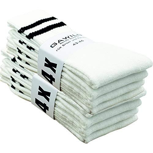 GAWILO 8 Paar Tennissocken – Retro Socken - weiß mit Ringeln (weiß, numeric_43)