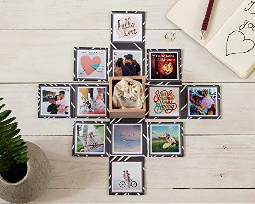Exploding Photo Box, Unfolding Box for Pictures Gift, Explosion Box for Birthday or Anniversary Gift/Includes the Printing of 13 Photos of Your Choice to Personalize It