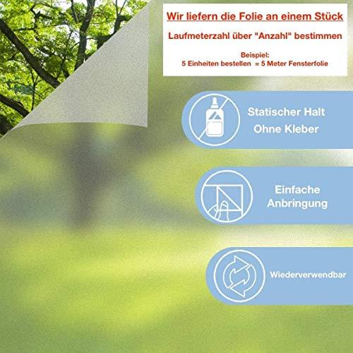 [11,10€/m²] Fensterfolie mit UV Schutz Sichtschutzfolie Milchglasfolie Statische Folie Fenster (30 cm)