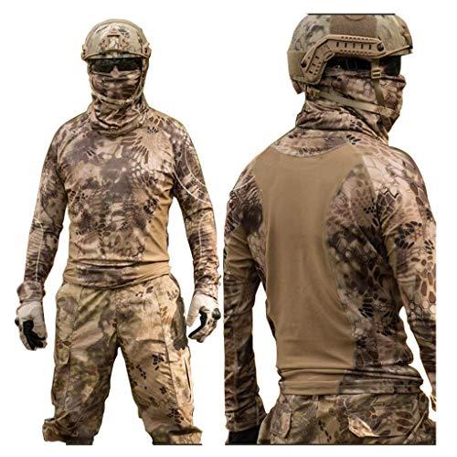 MKJYDM Camouflage-Anzug, Outdoor-Aktivitäten, Angeln, Jagd, Vogelbeobachtung, Sport, Training, atmungsaktiv, schmale Hose, Camouflage (Größe : L)