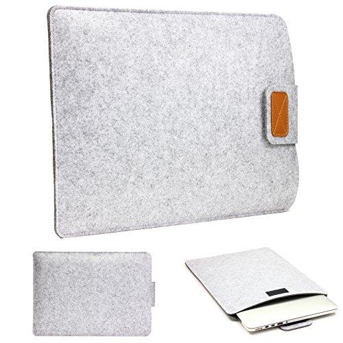 Urcover 15 Zoll (48 cm) Filz Laptop Tasche & Tablet Hülle passend für Ihr iPad, Lenovo Tablet, Samsung Tab, Netbook & viele weitere Mobile Endgeräte Hell Grau