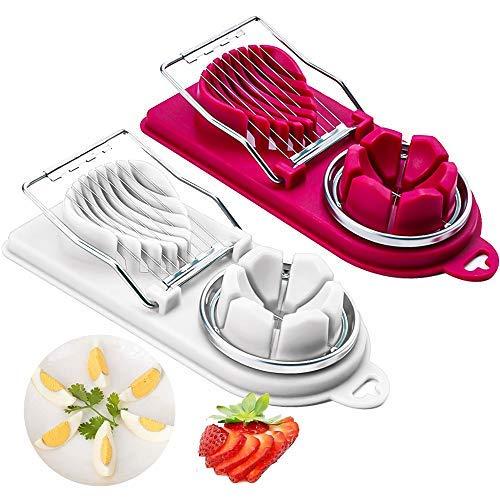 qipuneky 2er Set Gekochter Eierschneider, 2 in 1 Eierteiler Scheiben, Erdbeerschneider, Schneidet Sauber und exakt für Eiern, Banane, Kiwi, Rostfreier Schneidedraht