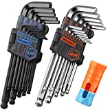 REXBETI Hex Key Allen Wrench Set, SAE Metric Long Arm Ball End Hex Key Set Tools, Industrial Grade Allen Wrench Set, Bonus Free Strength Helping T-Handle, S2 Steel (27 Pieces)