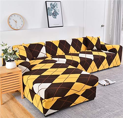 Funda de sofá geométrica Funda de sofá Fundas de sofá elásticas para la Esquina de la Sala de Estar Chaise Longue en Forma de L Sillón Sofá Funda A25 4 plazas