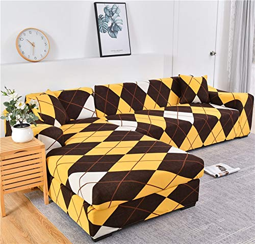 Funda de sofá geométrica Funda de sofá Fundas de sofá elásticas para la Esquina de la Sala de Estar Chaise Longue en Forma de L Sillón Sofá Funda A25 3 plazas
