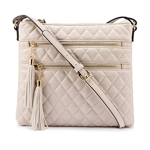 Crossbody Bags for Women with Double Zipper Pocket Tassel Over the Shoulder Purses Lightweight Medium