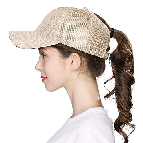 Fancet Cappello da baseball da donna, con fessura per coda di cavallo o chignon alto, 56-60 cm - Beige - M