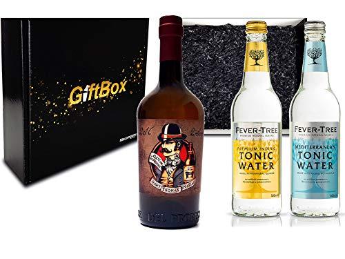 Gin Tonic Giftbox Geschenkset - Gin del Professore Monsieur 0,7l 700ml (43,7% Vol) + 2x Fever Tree Tonic Water Mix je 200ml inkl. Pfand MEHRWEG - [Enthält Sulfite]