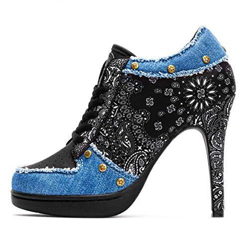 MISSY ROCKZ Bandana Rockz 2.0#1 Black/Jeans, Größe:EU 42 / UK 9 / US 11, Absatz:10.5 cm