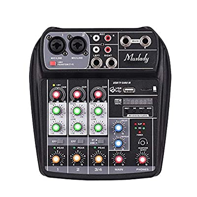 Muslady Sound Card Mixing Console Digital Audio Mixer AI-4 Compact 4-Channel BT MP3 USB Input +48V Phantom Power for Music Recording DJ Network Live Broadcast Karaoke
