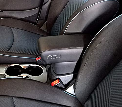 Bracciolo Premium per 500X nero con RICAMO color ARGENTO, montaggio ad incastro integrato invisibile grande portaoggetti compatibile 500X