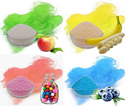 4x100g Aromazucker mit Geschmack. Apfel, Banane, Bubble Gum, Blaubeere bunter farbiger Zucker für Zuckerwatte, Popcorn und zum Dekorieren. Premium Zucker Set für die Zuckerwatte Maschine